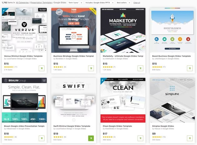Google Slides Templates with Icons from GraphicRiver