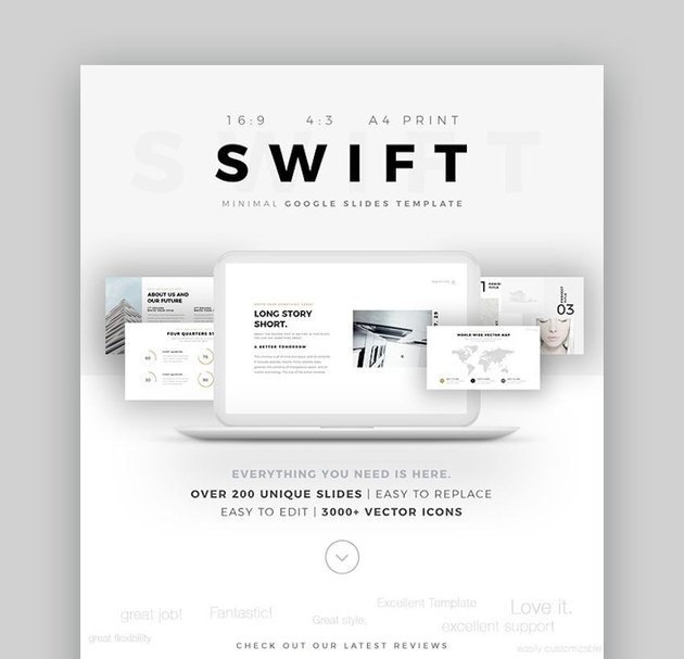 Swift Minimal Google Slides Template with icons