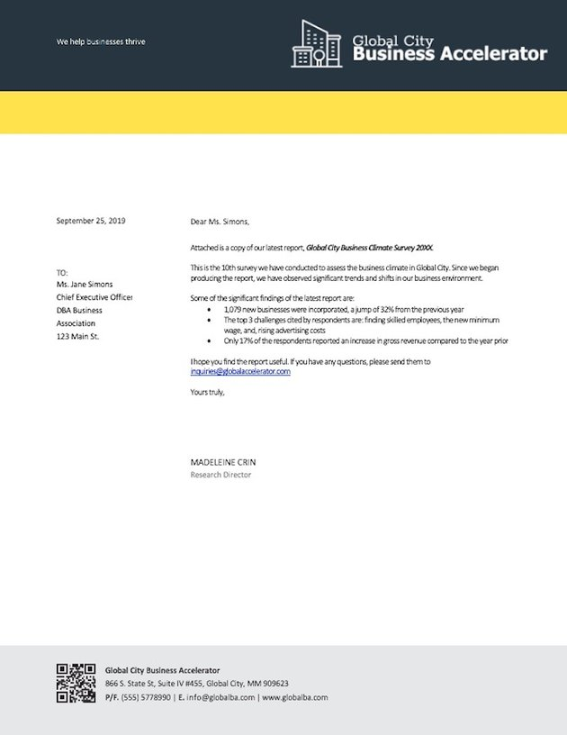 Business Letter in Word Using a Template