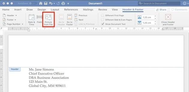 Edit Header in Word