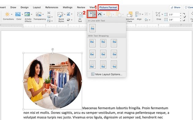 Picture Format Position in Microsoft Word