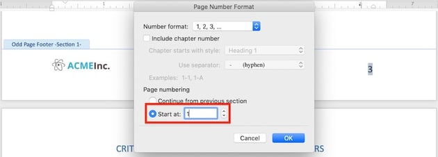 Restart page number in Microsoft Word