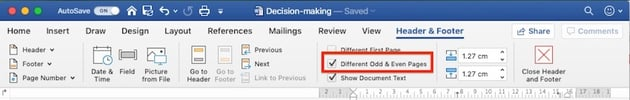 Different Odd  Even Pages - Microsoft Word