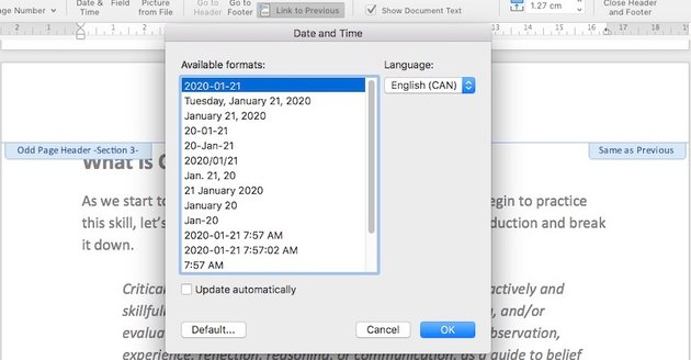 Date and Time format in Microsoft Word