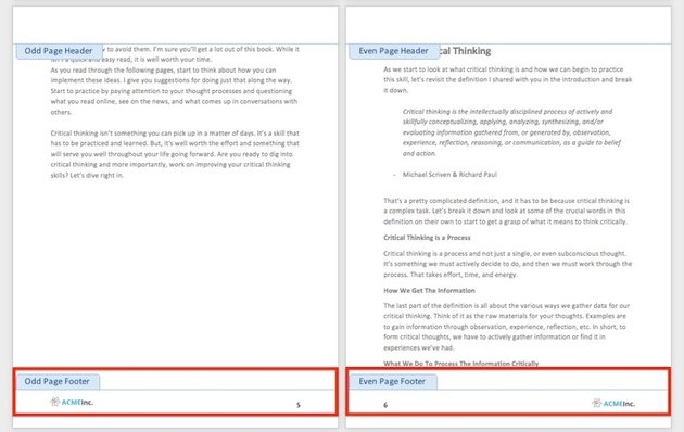 Microsoft Word different headers or footers