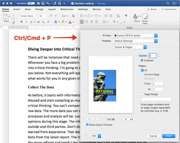 Word Shortcuts - Open Print Dialog