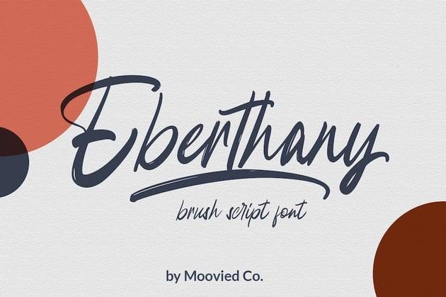 Eberthany Brush Script - Microsoft Word cursive font