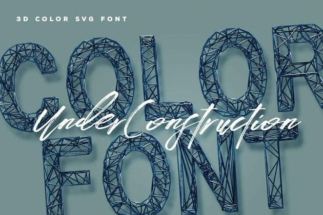 Under Construction 3D Color Font