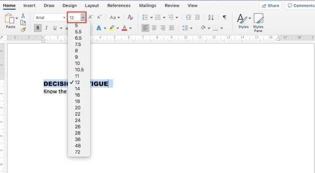 Change Microsoft Word default font - Change the font size