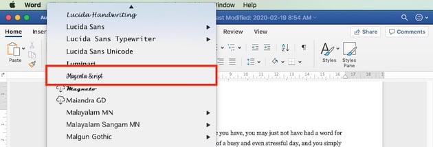 Add font to Microsoft Word
