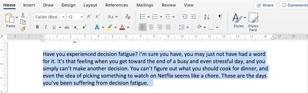 How to change Microsoft Word default font - Paragraph Styles
