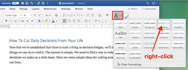 Change Microsoft Word default font - Paragraph style settings