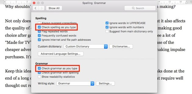 Word check spelling and grammar as you type
