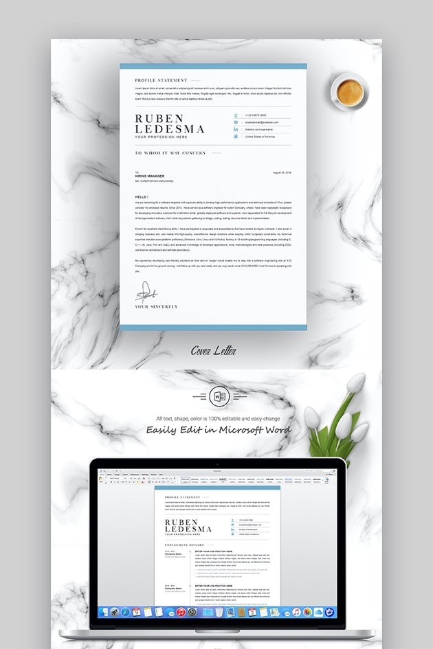 Cover letter template Word - CV Template with Word Cover Letter