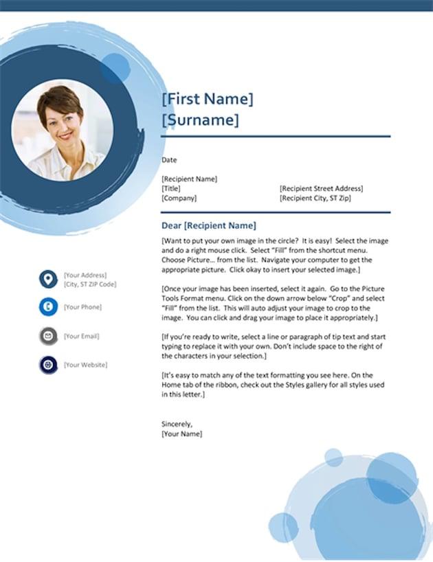 Blue Spheres Cover Letter tempate Word Doc