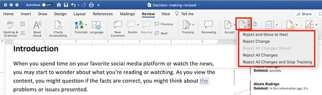 Word - Reject Changes Options