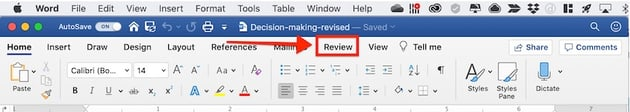 Word Review Tab