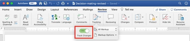 Word - Track Changes On