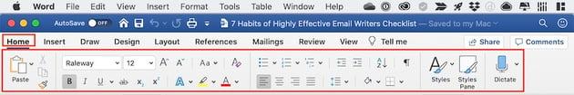 Microsoft Word Interface