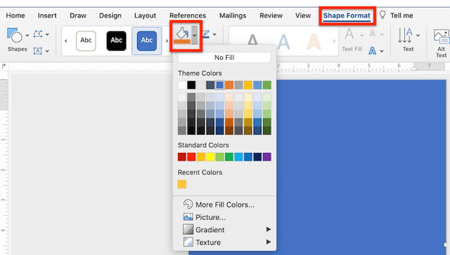 Microsoft Word background - Colors