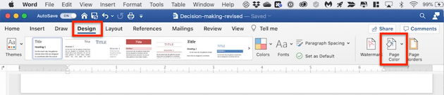 Change background color of Word document