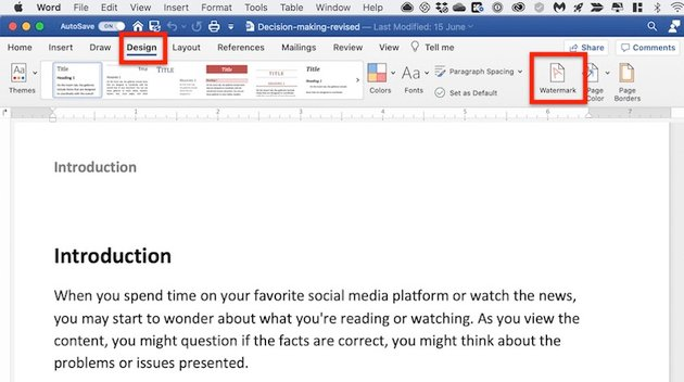 Microsoft Word background - Watermark