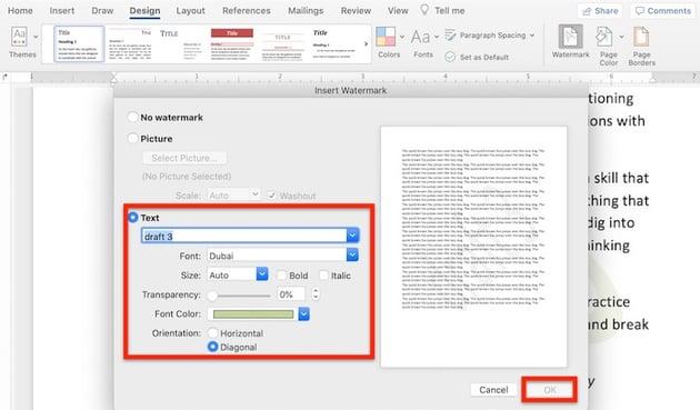 Microsoft Word background - Text watermark