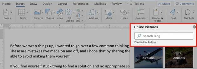 Microsoft clip art browser