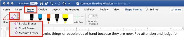 How to Draw in Word - Eraser tool