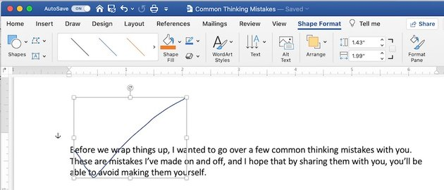 How to draw in Word - Shape Format a Freeform shape