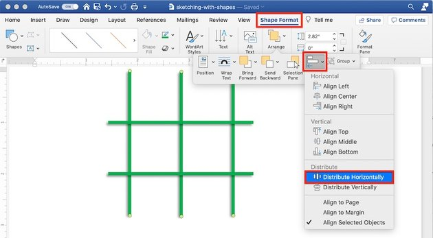 Drawing tools in Word - Alignment
