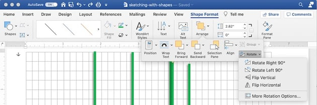 Drawing tools in Word - Rotate