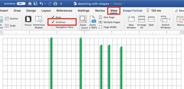 Drawing tools in Word - Gridlines