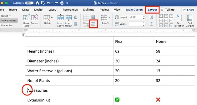 Edit a table in MS Word - How to split a table