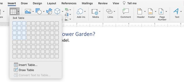 How to make a table in Word - Insert Table panel