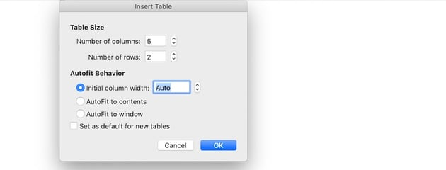 How to make a table in Word - Insert Table panel from menu