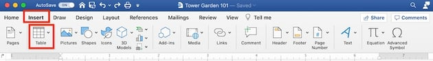 How to make a table in Word - Insert Table