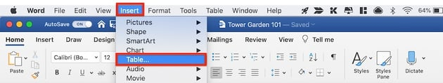 How to make a table in Word - Insert Table from menu