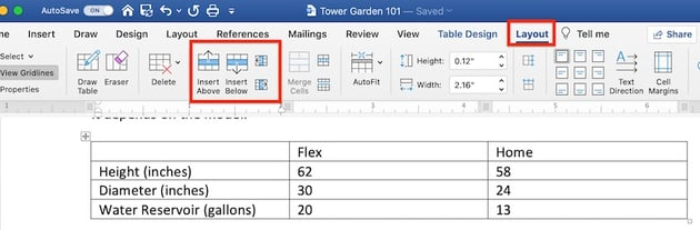 Edit a table in MS Word - Layout