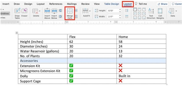 Edit a table in MS Word - Merge cells through Layout tab