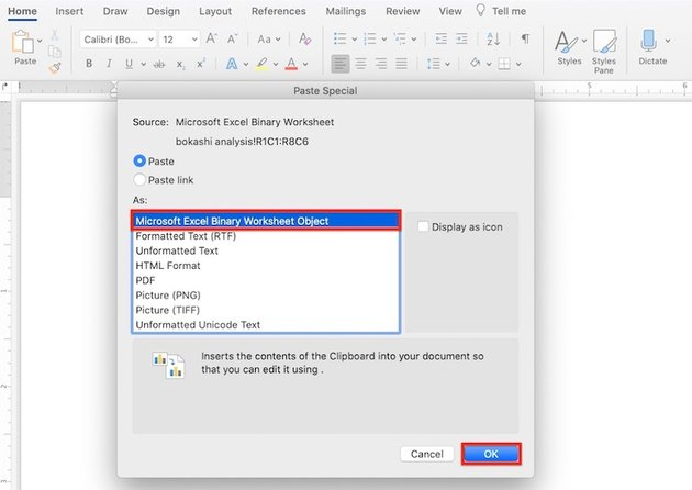 How to insert table in Word - Paste Microsoft Excel Binary Worksheet Object