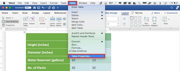 Edit a table in MS Word - Text Wrapping