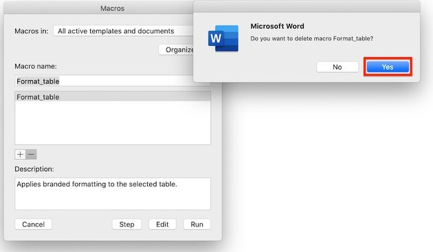 Macros in Word - Confirm delete