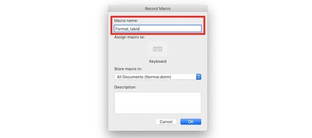 Macros in Word - Macro name