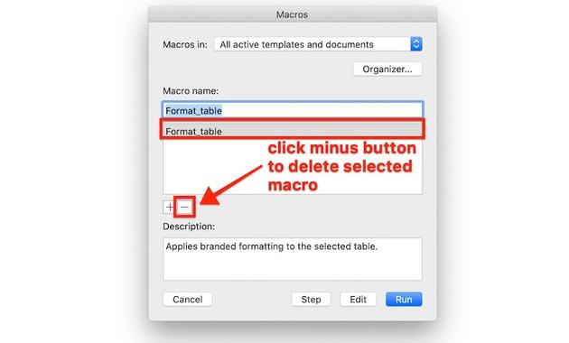 Macros in Word - How to delete a macro