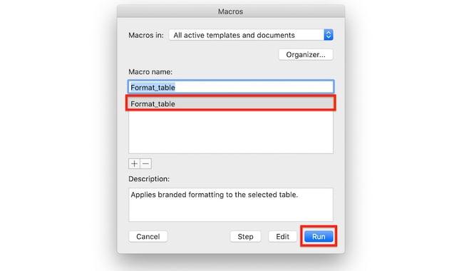 Macros in Word - Select macro