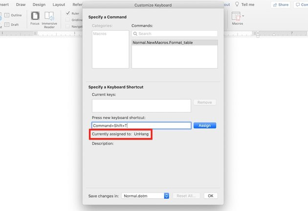 Microsoft Word macros - Keyboard shortcut is already assigned
