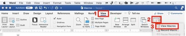 Macros in Word - View macros