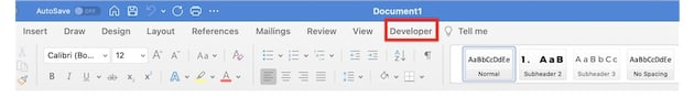 how to create a fillable form in word - developer tab visible