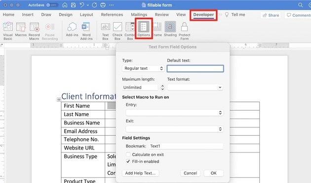 how to make a fillable form in word - word fillable form text box